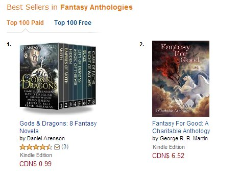 Fantasy For Good Amazon Canada Fantasy Anthology Chart for December 10 2014